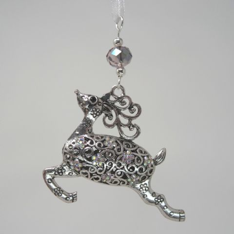 Silver Tone Reindeer with AB Rhinestones & Pink/Green AB Bead - Xmas Tree Decoration